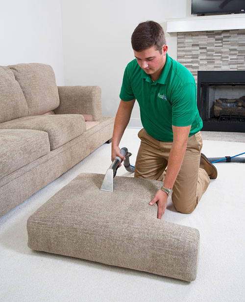 Professional Upholstery Cleaning by Brown's Chem-Dry upholstery cleaner in a Cokato MN home