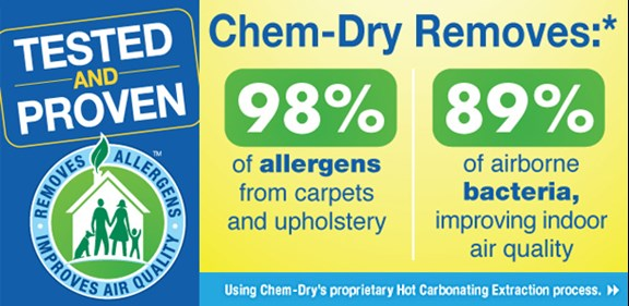 Brown's Chem-Dry removes 98% of allergens from carpet and upholstery and 89% of airborne bacteria in Buffalo MN